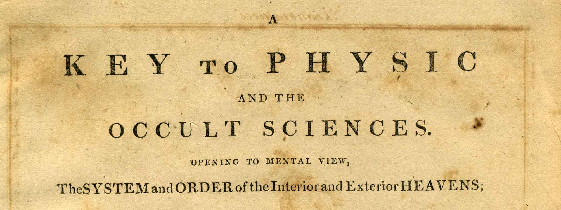 A Key to Physic and the Occult Sciences Title Page
